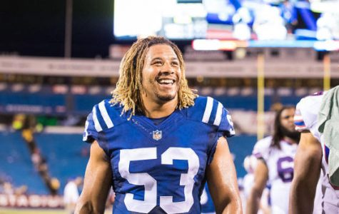 ORCHARD PARK, NY - AUGUST 13:  Edwin Jackson #53 of the Indianapolis Colts leaves the field after the game against the Buffalo Bills on August 13, 2016 at Ralph Wilson Stadium in Orchard Park, New York.  Indianapolis defeats Buffalo 19-18.  (Photo by Brett Carlsen/Getty Images) *** Local Caption *** Edwin Jackson
