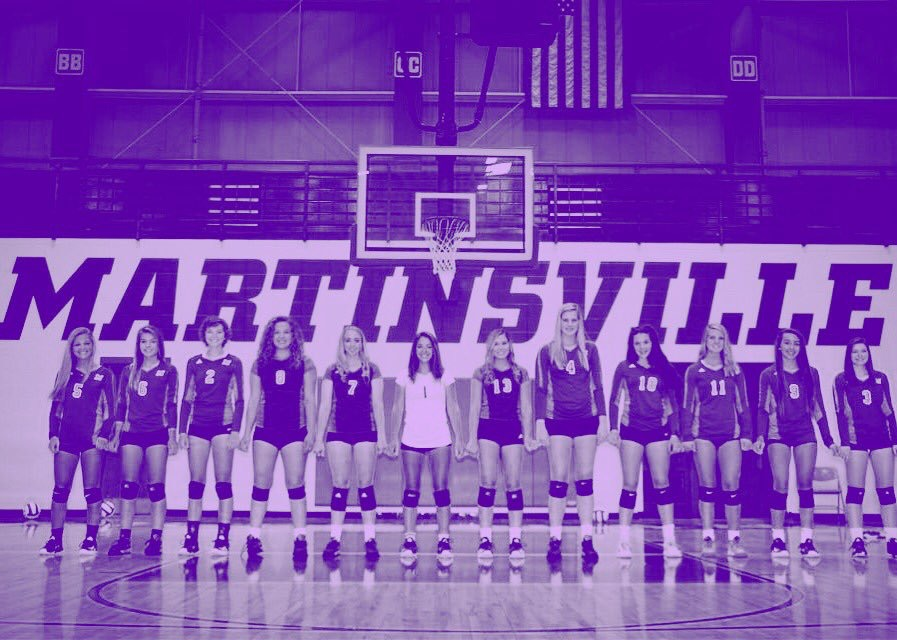 Martinsville Volleyball with a purple filter signifying the awareness color for Hodgkin's Lymphoma.