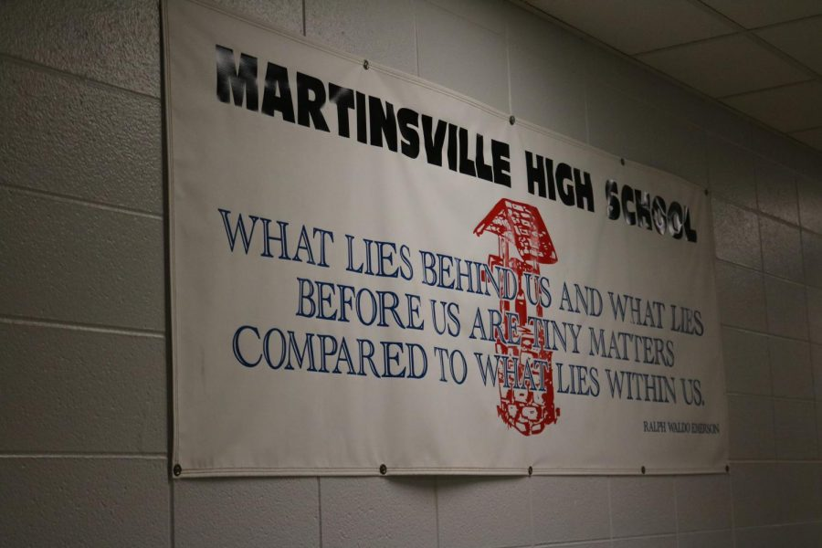 A banner that hangs in the halls of Martinsville High School