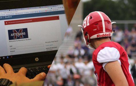 Photo of student doing school work alongside photo of MHS football player.