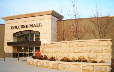 The College Mall located in Bloomington, Indiana outside the building.