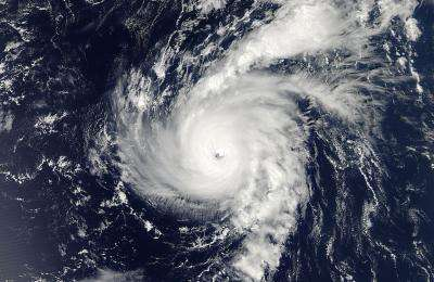 This is a photo of the eye of a hurricane.