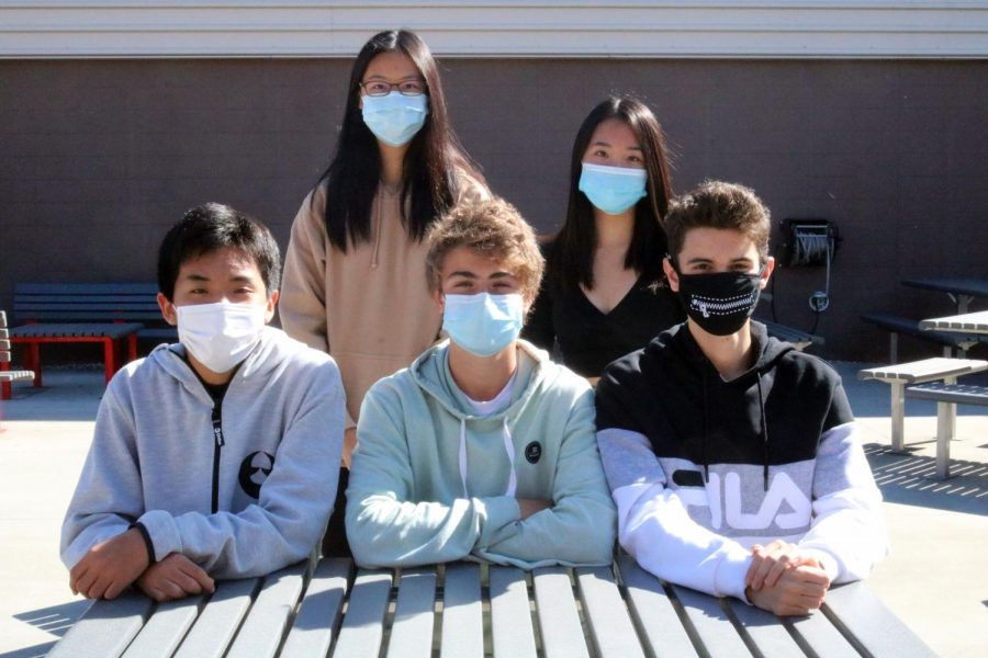 2020-2021 Foreign Exchange students:  Front Row (left to right): Enshou Asai (from Japan), Antonio Cano Sarobe and Nicolas Bicand Fernandez (from Spain);  Back Row (left to right): Martha Chak Yan Yu (from Hong Kong) and Hien Pham (from Germany)