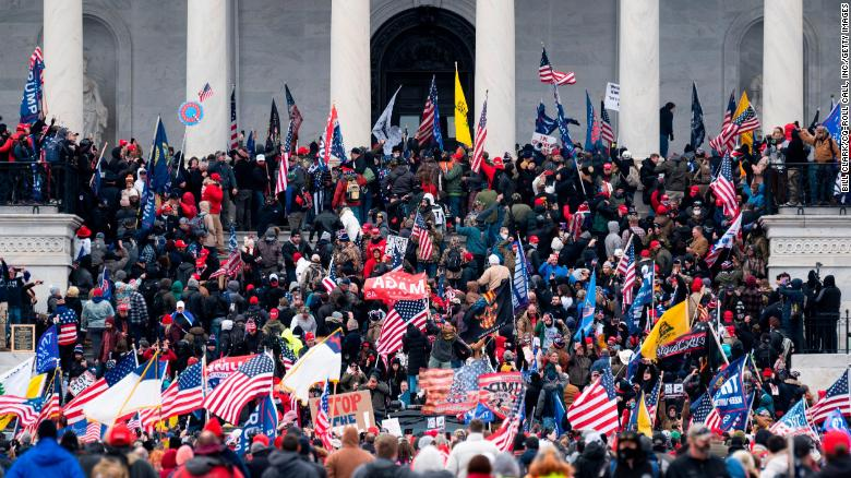 Trump supporters storm the Capitol Building on January 6th, 2021.