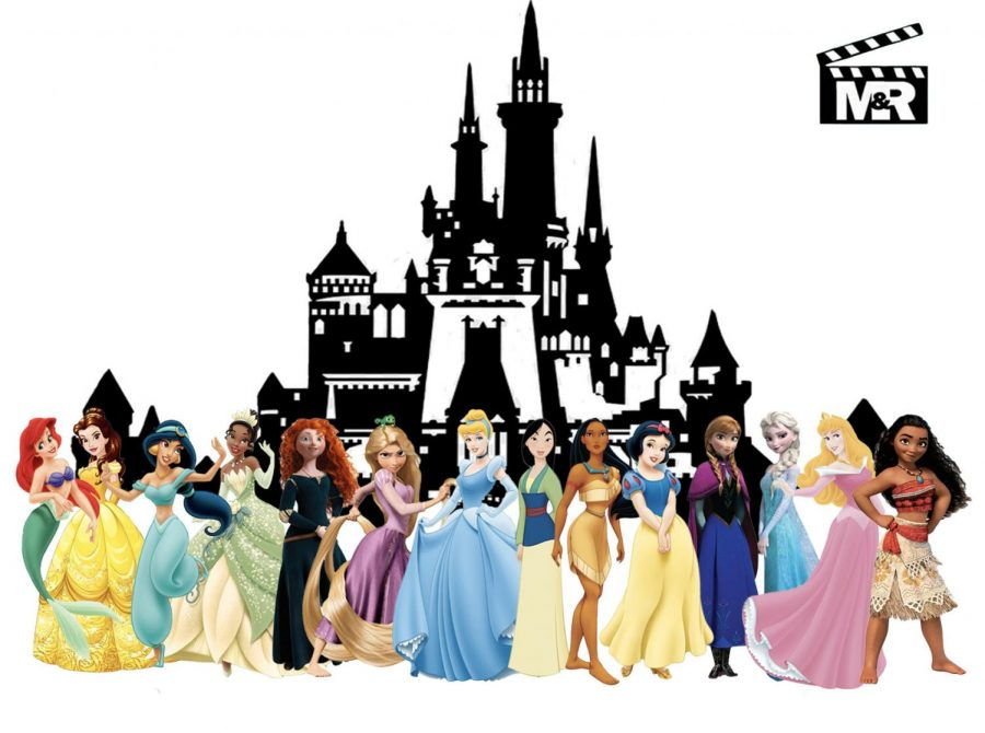 All current Disney Princesses in front of Disney castle