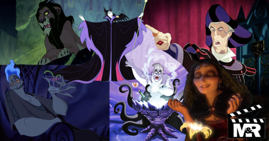 Collage of our top six favorite Disney villains