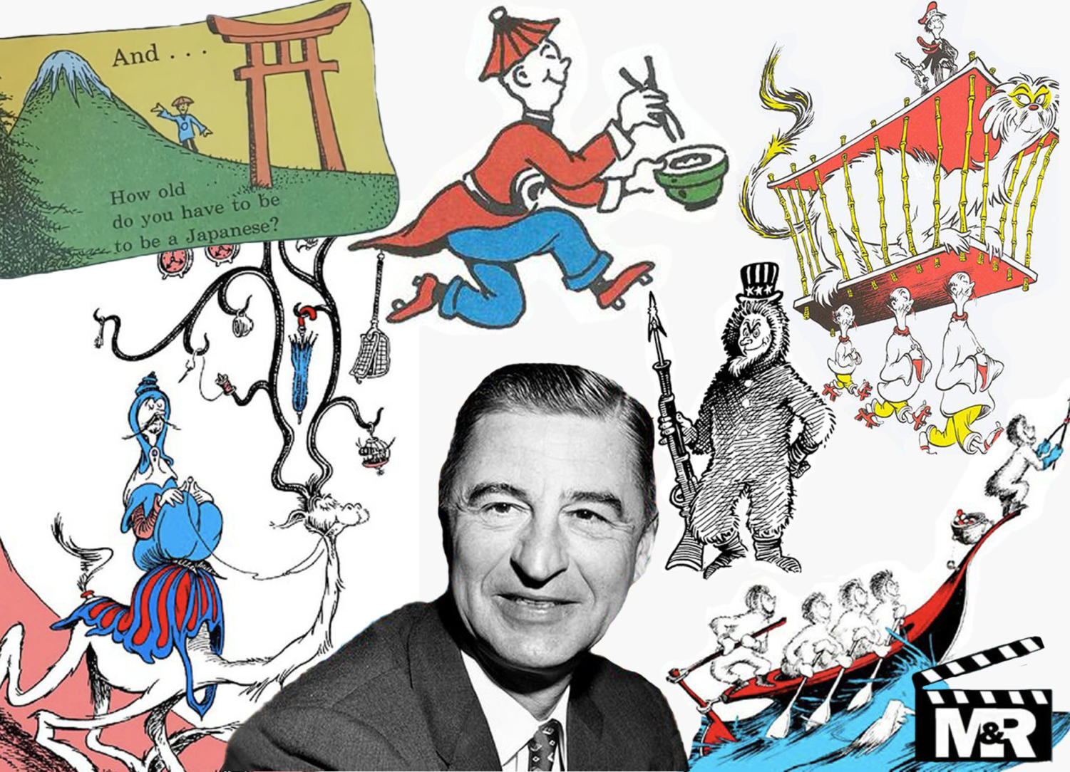 A collage of all the racist imagery found in Dr. Seuss