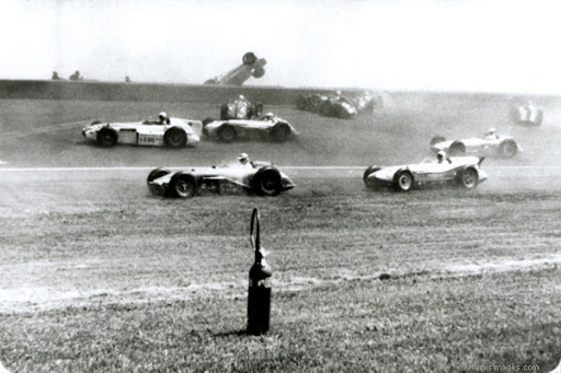 The pileup at the start of the 1958 Indy 500. Image courtesy of Indianapolis Motor Speedway.