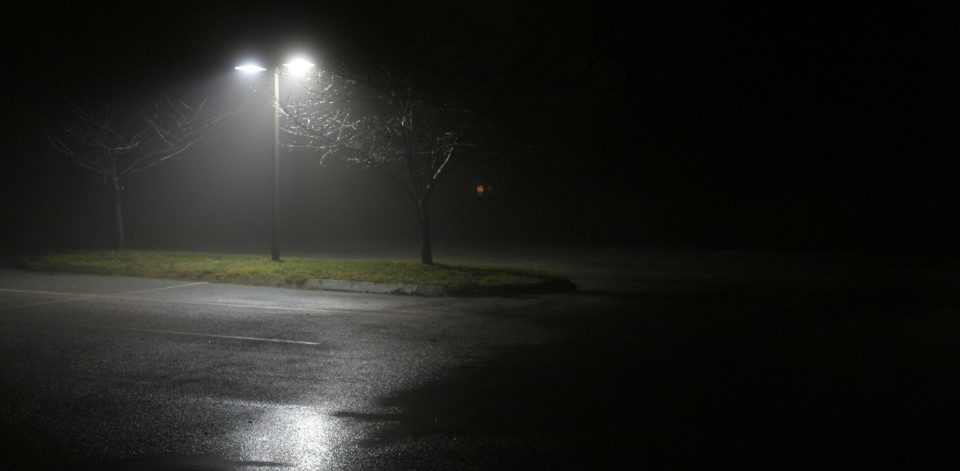 A parking lot at night
